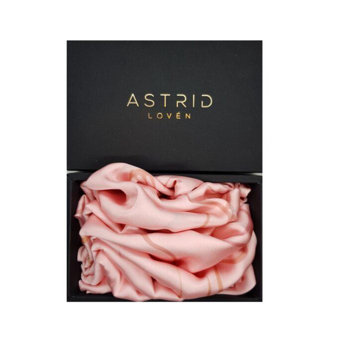 Astrid Loven Handmade Pink Satin Silk Scarf
