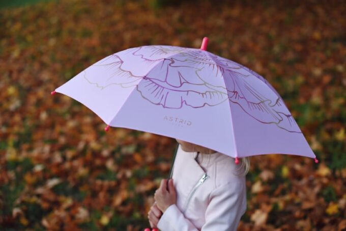 laste roosa vihmavari modelliga loven
